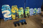 Complete Lot Boogie Boards (7) + 2 Fins